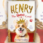 A book cover with an image of a Corgi sat on a throne with a crown on. With the title 'Henry, The Queen's Corgi' in gold at the top.