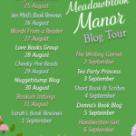 A green poster featuring the title Secrets At Meadowbrook Manor, with a list of blogs that will feature with each date.
