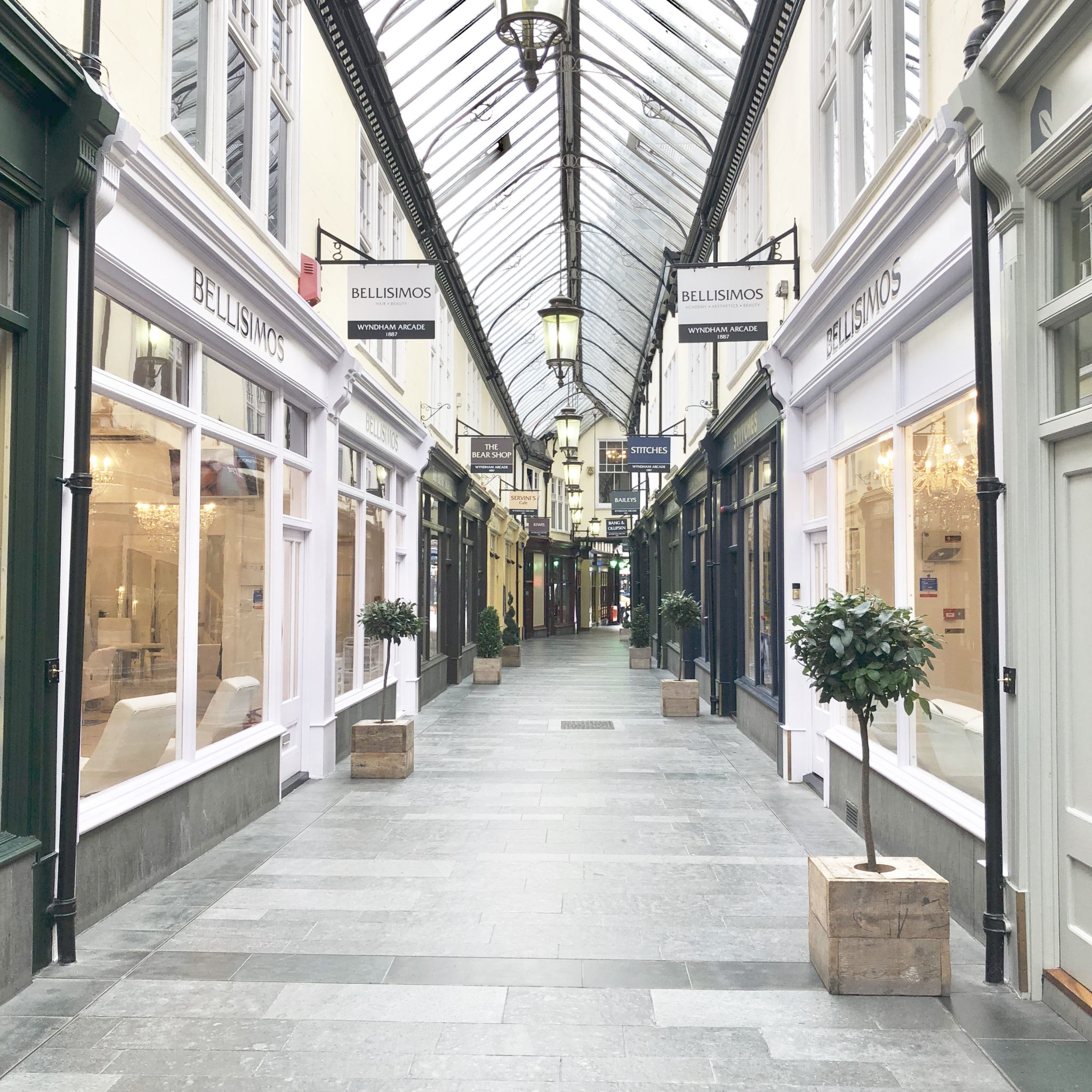 Wyndham Arcade in Cardiff, showing Bellisimo's with salons on both sides