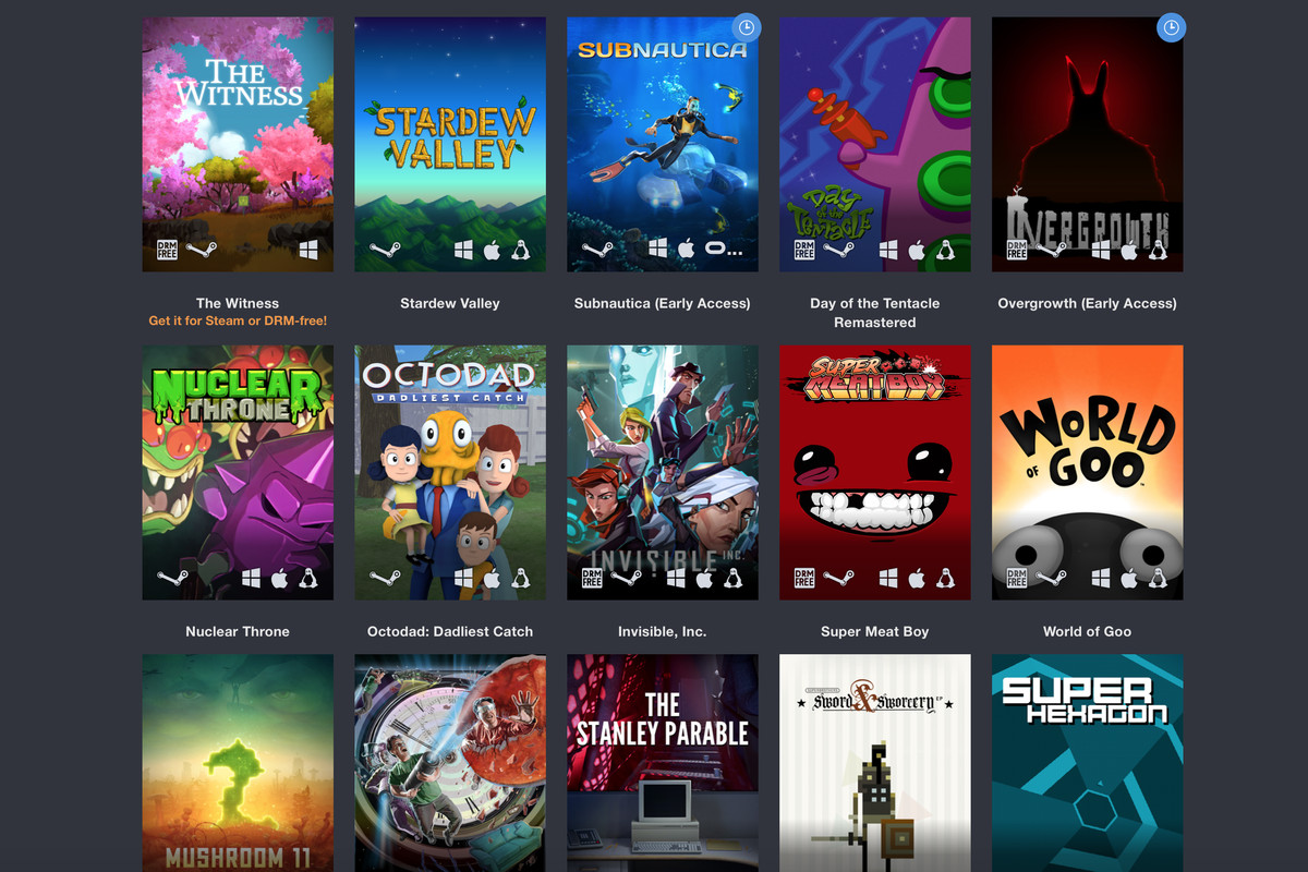 A selection of games from a Humble Bundle