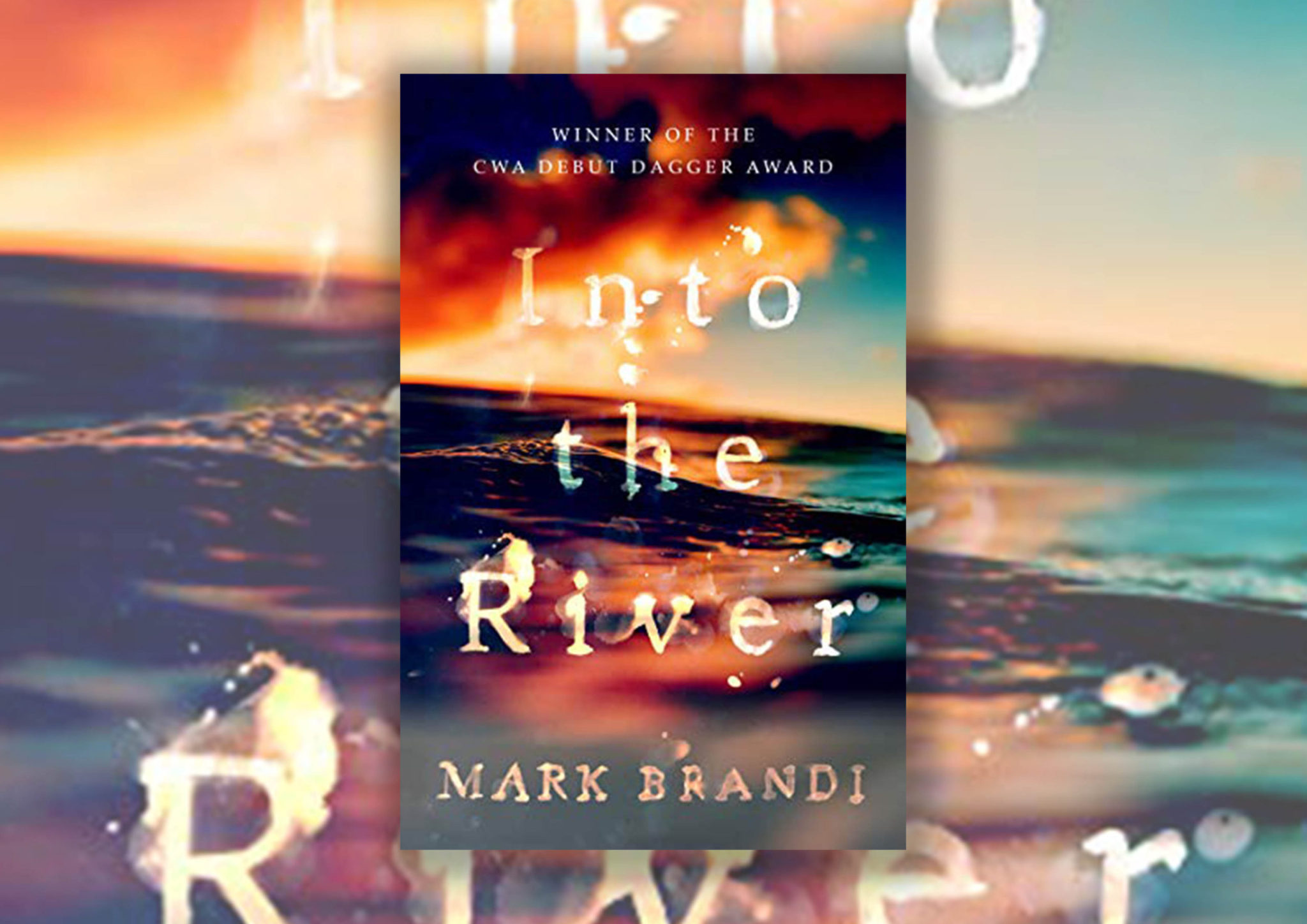 Book cover showing a sunset reflecting off a close up of the ocean waves