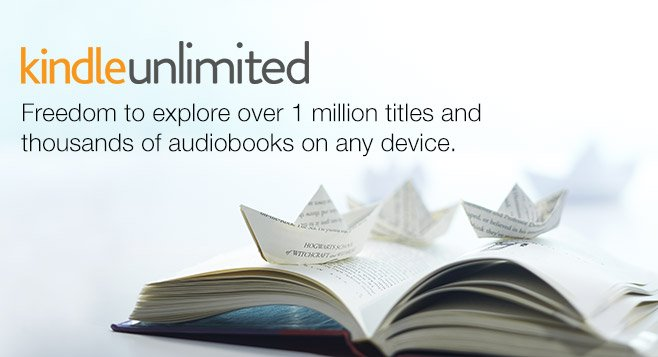 Kindle Unlimited Poster with an opened book underneath the title