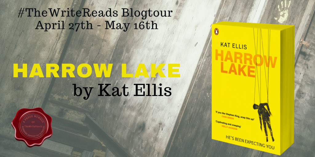 A book tour poster with a bright yellow book cover in the corner featuring a hanging figure on the front.