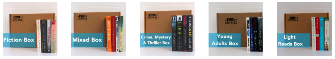 A photo of the different book subscription offers that A Box Of Stories offer