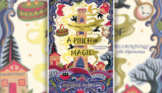 A Pinch Of Magic book cover on top of a blurred background. The book cover features a tower in the middle, with elements surrounding like crows, babushka's..