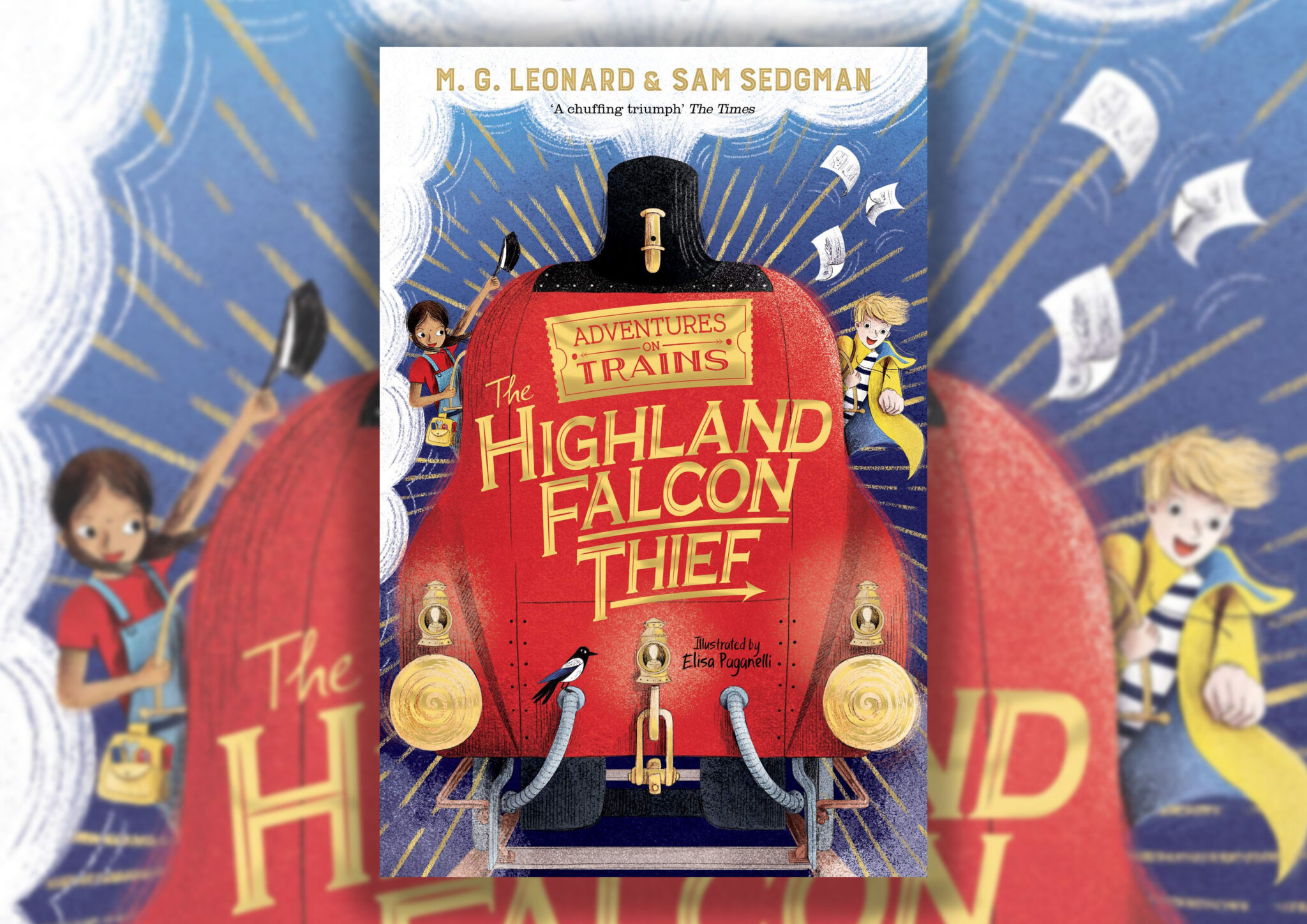 The book cover for The Highland Falcon Thief on a blurred background. The cover has a red steam train on the front, with two of the characters holding onto the sides.