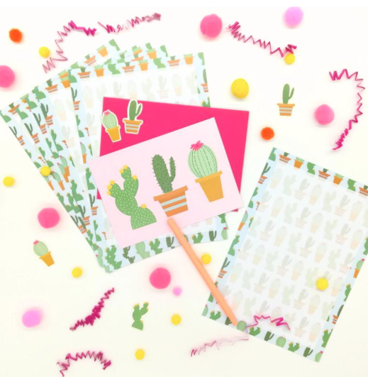An adorable letter set displayed flat on a white background, decorated with cute cactus illustrations