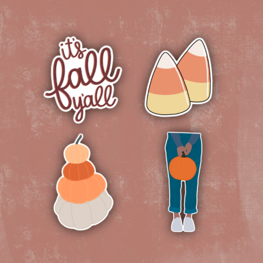 Cute autumn sticker pack featuring candy corn and pumpkins