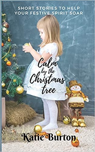 A book cover with a little girl standing by a christmas tree